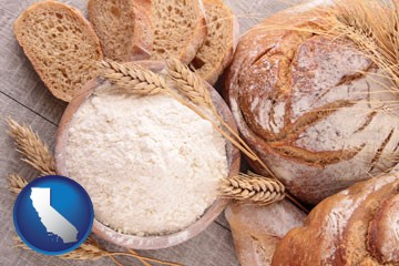 baked bakery bread - with California icon