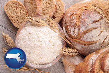 baked bakery bread - with Massachusetts icon