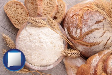 baked bakery bread - with New Mexico icon