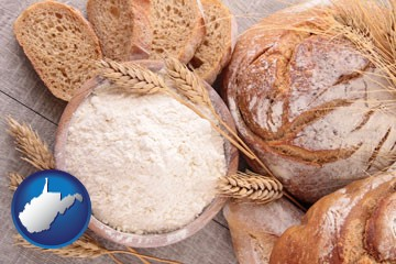baked bakery bread - with West Virginia icon